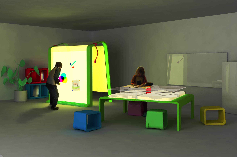 Luciole - écrin et table lumineuse + mur jeux de lumière